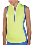 Jofit Tapered Mock Sleeveless Polo - Green Apple