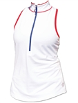 JoFit Tipsy Sleeveless Top - White/Lipstick