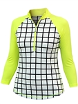 Jofit 3/4 Sleeve Spritzer Mock Top- Windowpane
