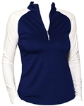 Jofit Long Sleeve Mock Shirt Blue Depth/White