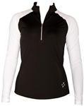 JoFit Long Sleeve Mock Golf Top Black/White