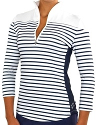 JoFit 3/4 Sleeve Navy/White Striped Mock