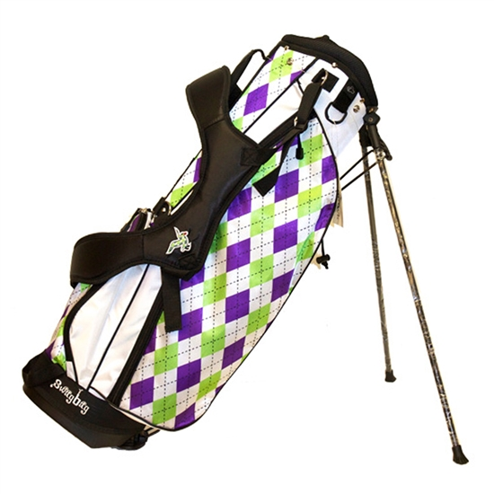Molhimawk Purple  Green Argyle Swag Golf Bag