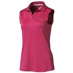 Puma Polka Dot Stripe Sleeveless Polo - Rose Red