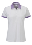 PING Adora Short Sleeve Golf Polo - White/Viola