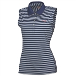 Women's Stripe Sleeveless Polo Golf Shirt