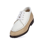 Aerogreen Linate Ladies Golf Shoe - Beige/ White Patent
