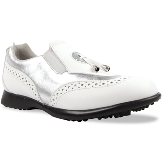 Sandbaggers Madison II Silver & White Ladies Golf Shoe