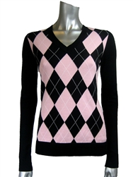 Shi Golf Argyle V-neck Sweater