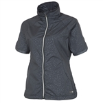 Sunice Golf Brittany Short Sleeve Wind Jacket Charcoal Divot Dot