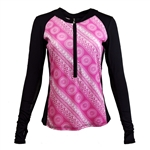 SanSoleil SunGlow Zip Crew Top - Seville Pink