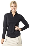 VK Sport Long Sleeve Stand Up Collar Top - Black Pearl