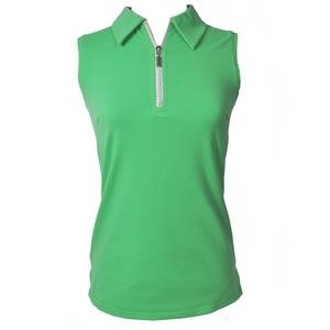 Wear To Win Emerald Green Sleeveless Zip Top