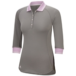 Adidas Advanced Fall Weight 3/4 Sleeve Polo Grey/Light Orchid