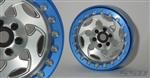 "SSD RC 2.2"" Champion PL Beadlock Wheels (Silver / Blue) (2)"