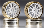 Tamiya RC Medium Narrow Mesh Wheels White/Gold Rims +2 Offset