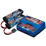 Traxxas 2S Battery/Charger Combo: (2) 7.4V 7600mAh LiPo Battery, (1) EZ-Peak Dual ID Charger