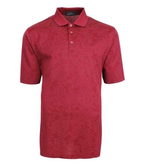 Bugatchi red men's polo shirt paisley golf