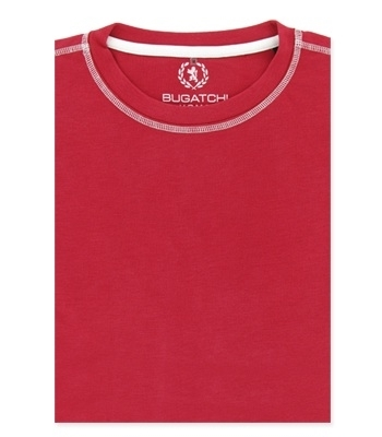 Bugatchi T-shirt CREW NECK short sleeve-fancy stitch - XL - ruby