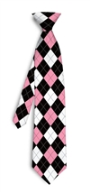 pink black argyle Silk Tie LoudMouth Golf
