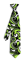 Black Lime Green Splash Silk Tie LoudMouth Golf