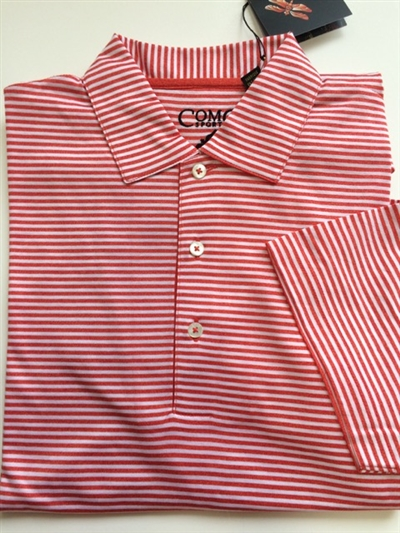 Como Sport men's polo shirt. Men's 100 percent double mercerized cotton red and white stripe shirt for golf and active lifestyles. Size medium to XL.