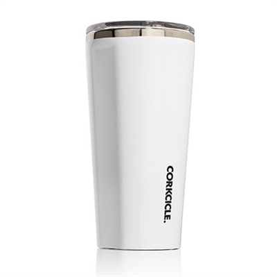 white gloss custom logo tumbler corkcicle
