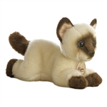 Realistic Stuffed Siamese Cat 8 Inch Plush Cat By Aurora