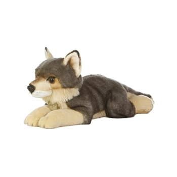 Realistic Stuffed Wolf 16 Inch Plush Animal by Aurora
