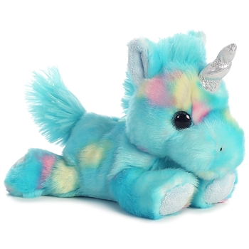 Blueberry the Small Stuffed Blue Unicorn Bright Fancies by Aurora