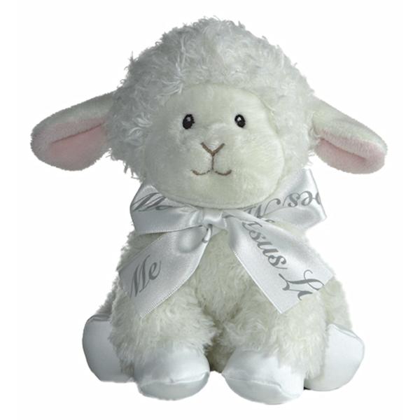 Baby Safe Plush Lamb W Jesus Loves Me Bow Aurora