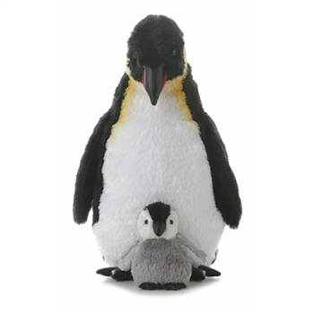 Adult and Chick Stuffed Emperor Penguins by Aurora