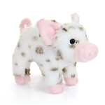 Yogi the Little Plush White Pig with Brown Spots by Douglas