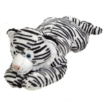 Jumbo Lying Stuffed White Tiger Plush Animal by Fiesta