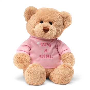 Plush Teddy Bear with Pink It's A Girl Shirt by Gund