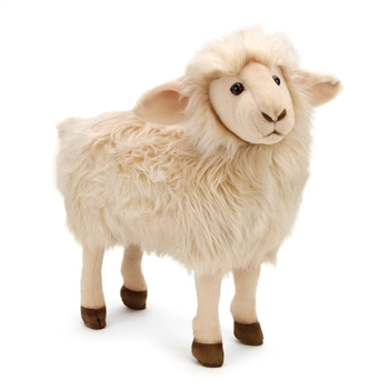 Lifelike White Sheep Stuffed Animal by Hansa - Handcrafted - 14 Inch