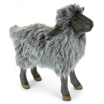 Handcrafted 14 Inch Lifelike Black Sheep Stuffed Animal by Hansa