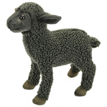 Handcrafted 12 Inch Lifelike Black Lamb Stuffed Animal by Hansa