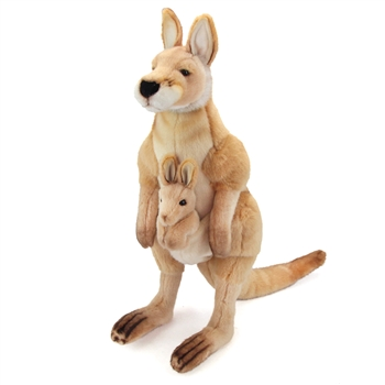 Handcrafted 17 Inch Lifelike Kangaroo and Joey Stuffed Animal by Hansa