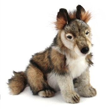 Handcrafted 15 Inch Lifelike Wolf Cub Stuffed Animal by Hansa
