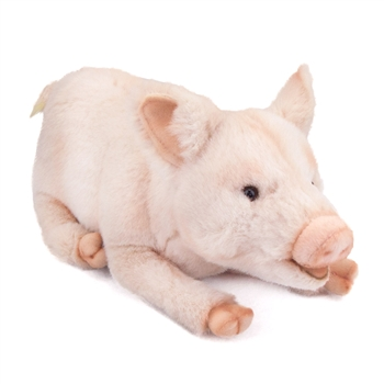Handcrafted 11 Inch Lying Lifelike Pig Stuffed Animal by Hansa