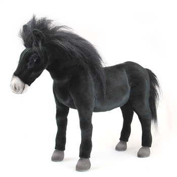 Handcrafted 18 Inch Lifelike Black Horse Stuffed Animal by Hansa