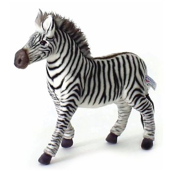 Handcrafted 14 Inch Lifelike Zebra Stuffed Animal by Hansa