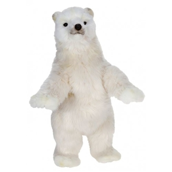 Handcrafted 19 Inch Lifelike Standing Stuffed Polar Bear Cub by Hansa