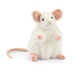 Handcrafted 6 Inch Standing Lifelike Stuffed White Mouse by Hansa