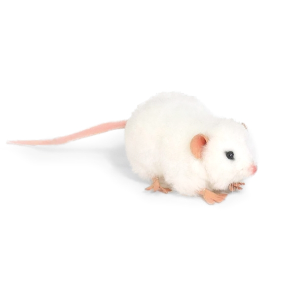 handcrafted 5 inch lifelike white mouse stuffed animal by
