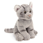 Small Sitting Stuffed Gray Tabby Cat by Nat and Jules