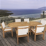 "Royal Teak 7 Piece Captiva Stacking Set with 60""/78"" Oval Extension Table"