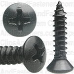"8 X 3/4"" Phillips Oval Head Tapping Screws Black Oxide"