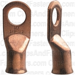 Battery Cable Lugs 2/0 Gage 1/2 Stud Sz -Copper
